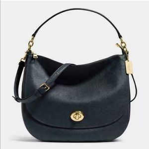 COACH Turnlock Pebble Leather Hobo  Purse